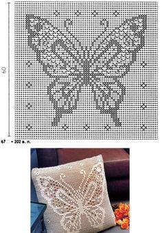 Filet Crochet Pillow Filet Crochet Pillow – Зоряна O - Crochet Bobble Crochet, Crochet Skull, Crochet Motif, Crochet Doilies, Crochet Yarn, Crochet Stitches, Crochet Patterns, Crochet Pillow Cases, Crochet Cushions