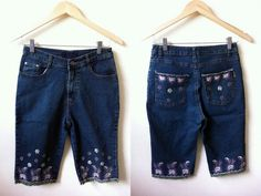 embroidered denim bermuda shorts 27 inches by VintageHomage