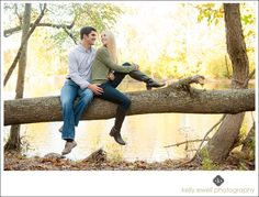Natural outdoor fall engagement portraits in the woods along the river in Great Falls, Virginia