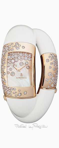 de GRISOGONO - Lovivi M - Polished and set pink Gold – white Diamonds – Quartz – white Mother-of-Pearl dial – Dauphine hands – front anti-reflection sapphire glass – fossilised mammoth Ivory double bangle, polished and set pink Gold – 3 ATM. Stylish Watches, Luxury Watches, Watches For Men, Diamond Quartz, Beautiful Watches, High Jewelry, Turquoise, Swagg, Fashion Watches