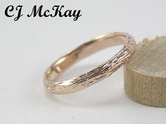 14K rose gold Tree Bark wedding band 2.5mm, hand made for you!  cjmckay.etsy.com