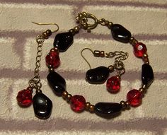 SOLD - Red Ruby and Black Natural Shape Glass, Brass & Bronze