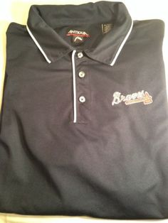 Atlanta Braves Antigua Mens Golf Polo Shirt Size XL Extra Large Blue   eBay