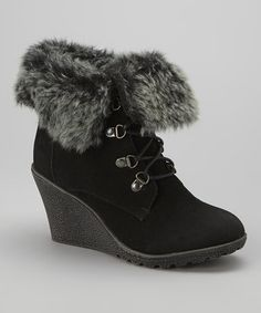 Love this Black Bella Wedge Boot by Rockland on #zulily! #zulilyfinds