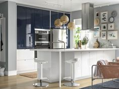 Want to refresh your kitchen? Go bold with IKEA black blue cabinet doors. Balance with white countertops and handwoven textiles for a modern look. Colorful Furniture, Cheap Furniture, Kitchen Furniture, Furniture Websites, Furniture Stores, Discount Furniture, Luxury Furniture, Beautiful Kitchens, Cool Kitchens