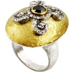 Sterling Silver layered in 24K Gold Ring with Diamonds by GURHAN