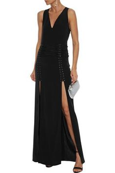 Haute Hippie Lace-up Crepe De Chine Gown In Black Haute Hippie, Fashion Outlet, Hippie Style, Discount Designer, Fashion Brands, Your Style, Latest Trends, Lace Up, Gowns