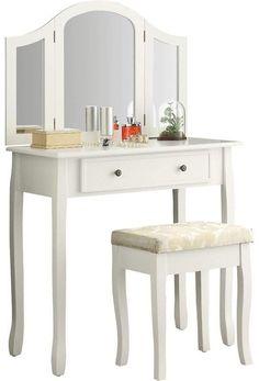 Winston Porter Emmalyn Wooden Vanity Set with Mirror Mirrored Vanity Desk, Wood Makeup Vanity, Wooden Vanity, Vanity Set With Mirror, White Bedroom Vanity, Closet Colors, Contemporary Vanity, Upholstered Stool, Furniture Vanity