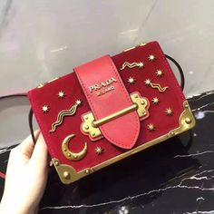64bf1c045d22 Prada Cahier Astrology Velvet Shoulder Bag Red#pradabag #prada #pradalover  #pradaaddict Prada