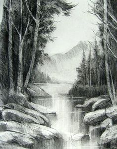 New Art Drawings Sketches Pencil Landscape 48 Ideas Landscape Pencil Drawings, Landscape Sketch, Pencil Art Drawings, Art Drawings Sketches, Landscape Art, Charcoal Art, Charcoal Drawings, Nature Drawing, Cool Landscapes