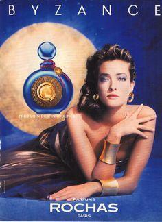 Byzance Rochas perfume - a fragrance for women 1987 Perfume Prada, Perfume Diesel, Perfume Bottles, Parfum Rochas, Hermes Parfum, Christian Audigier, Tatiana Patitz, Vintage Posters, Vintage Perfume Bottles