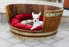 Wine barrel pet bed by WineDecorandMore on Etsy, $145.00