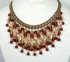 Vtg Miriam Haskell Necklace Amber Root Beer Color Art Glass Twisted Pearls | eBay