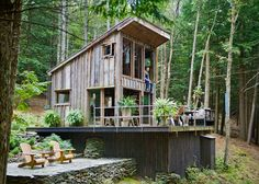 design Home rustic architecture forest new york Interior Design cabin house adventure Woods Wilderness wanderlust tiny house camp vibes woodgrain micro house Tiny Cabin tiny home tiny house on wheels tiny house nation Old Wood Windows, Big Windows, Off Grid Cabin, Cabin In The Woods, Micro House, House 2, Unusual Homes, Cabins And Cottages, Small Cottages