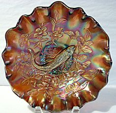 """Carnival Glass Millersburg """"Big Fish"""" ruffled bowl in Amethyst. Antique Dishes, Antique Glassware, Vintage Dishes, Art Deco Glass, Glass Molds, Fenton Glass, Carnival Glass, Glass Collection, Amethyst"""