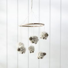 This beautiful mobile matches our Counting Sheep range and will complement any nursey. Hanging from a wooden ring, five little sheep dangle in delight, helping little ones nod off to sleep as they watch the sheep softly sway. Sheep Nursery, Baby Boy Nursery Decor, Baby Boy Nurseries, Nursery Room, Nursery Ideas, Sheep Mobile, Little White Company, Baby Sheep, Bell Tent