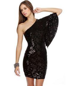Black Sequin Dress - One Shoulder Dress - Black Dress - $77.00 - StyleSays
