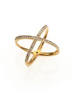 Michael Kors - Brilliance Statement Pavé Midi X Ring - Saks.com