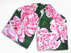 Hand painted silk scarf PEONIA long silk scarves  by MinkuLUL, $59.00