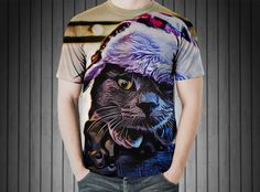 T-Shirt - Cat hat feline pet kitty grey