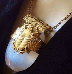 Vintage Necklace Huge Egyptian Scarab Calsite Quartz Crystal Filigree Pendant | eBay