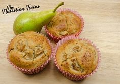 Pear-Hazelnut Muffins |  Deliciously sweet, energizing, healthy snack! |  For MORE RECIPES please SIGN UP for our FREE NEWSLETTER www.NutritionTwins.com