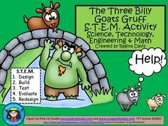 S.T.E.M. activities may seem daunting when teaching young children. This is a STEM activity that I created to go with the folk tale, The Three Billy Goats Gruff.   I like to include literature, reading, and writing into my STEM activity so that I can incorporate it into my reading block if needed.