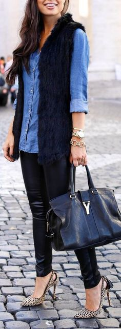 Navy faux fur vest over bright blue chambray shirt