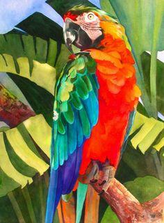 Por amor al arte: Anne Abgott Watercolor Bird, Watercolor Animals, Watercolor Paintings, Watercolors, Art And Illustration, Tropical Art, Arte Pop, Bird Art, Beautiful Paintings
