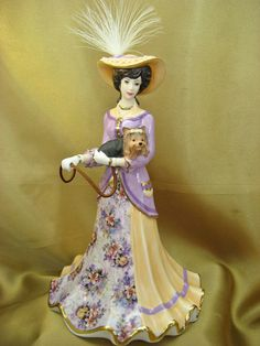 Porcelain Lena Liu Elegant Era Bell Figurine Carrying Terrier A Walk in The Park | eBay