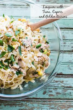 Linguini with Tuna, Capers, and Golden Raisins - easy weeknight pasta from mostly pantry staples!