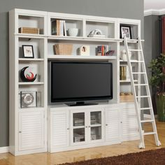 Parker House Boca Space Saver Library Wall Entertainment Center Bookcase - Cottage White | from hayneedle.com