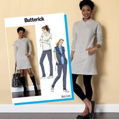 Butterick Sewing Pattern B6388 Misses' Tops & Dress, Draped Collar Vest & Pleated Pants … WeaverDee.com