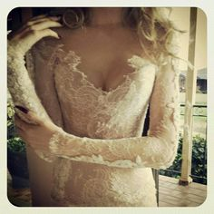 White and Gold Wedding. Sweetheart Neckline, Lace Trumpet Wedding Dress. Paolo Sebastian