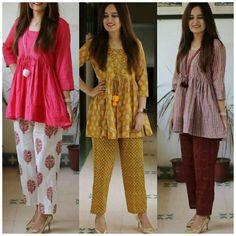 Pakistani Dresses, Indian Dresses, Indian Outfits, Kurta Designs Women, Blouse Designs, Short Kurti Designs, Indian Attire, Indian Wear, Casual Wear