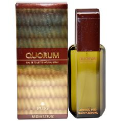Quorum - https://www.perfumes.com/quorum-antonio-puig-men-1-7-oz/ - Launched by the design house of Antonio Puig in the year 1982. This woody fragrance has a blend of caraway, grapefruit, bergamot, lemon, cyclamen, pine tree, sandalwood, patchouli, jasmine, leather, amber, oakmoss, and tobacco notes.