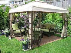 A gazebo is normally an open-sided, free-standing structure which has a roof. It is possible to select a larger gazebo for those who have a large and spacious garden. The canvas gazebo provides you an attractive tent covering for your… Continue Reading → Backyard Ideas For Small Yards, Small Backyard Gardens, Small Backyard Landscaping, Landscaping Tips, Back Yard Gazebo Ideas, Modern Backyard, Cheap Backyard Ideas, Cheap Gazebo, Small Backyards