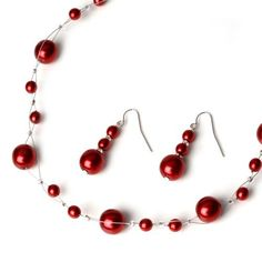 USABride Large Red Pearl Necklace & Earrings 664 R USABride. $24.95. Made with 6mm and 12mm glass pearls that have a beautiful luster and shine. Necklace measures 16-18 inches with attached extender. The matching earrings measure 1 inch long.. Great jewelry set for the bride, bridesmaids and mother of the bride. Pearl jewelry set is available in white, ivory, black, navy blue, aqua, red, or burgandy