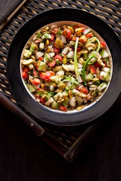 light, healthy, summer veggie salad with roasted nuts seeds. raw, vegan and gluten free