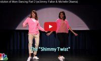 """Evolution of Mom Dancing Part 2 (w/Jimmy Fallon & Michelle Obama) We have to say Jimmy looked pretty cute dressed up as a woman and all, lol.  In honour of the 5-year anniversary of Let's Move!, (the campaign launched by Michelle Obama back on February 9, 2010 to combat the epidemic of childhood obesity), Jimmy and the First Lady perform Part 2 of """"The Evolution of Mom Dancing""""..."""