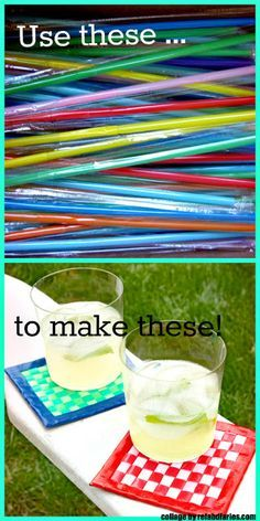 DIY Drink Coasters [Tutorial] : flattened plastic straws + duct tape... how creative!