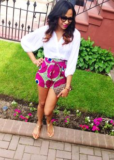 High Waist African Print Pants Shorts - Bold Bright African Wax Print Wrap