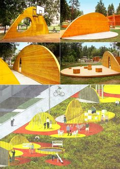 I kinda like these TWO colors only - creates an interesting vibe - like an oversaturation Landscape Elements, Urban Landscape, Landscape Architecture, Landscape Design, Playground Design, Outdoor Playground, Design D'espace Public, Parque Linear, Urban Park