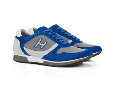 Hogan men's Bright Blue Leather Suede Fabric sneakers shoes - Italian Boutique $198