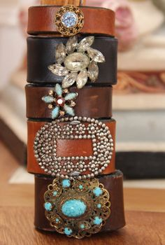 Vintage Jewel Leather Cuff, Boho Chic Vintage Cuff Bracelet, Black Leather Cuff w Upcycled Rhinestone Brooch, Repurposed Jewelry