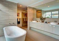 Custom Vanity New Home Designs, Cool Designs, Custom Vanity, Bathroom Renovations, Bathroom Ideas, Display Homes, Ubud, Corner Bathtub, New Homes