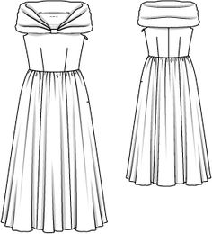 Organdy dress FIORE: technical drawing