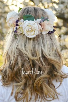 gorgeous floral crown. Rustic flower crown with cream flowers with green leaves and purple floral accents