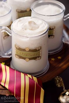 Homemade Frozen Butterbeer Slushies.