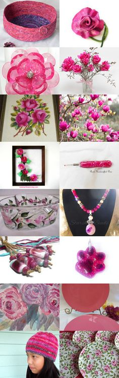 Pink Loveliness..... by ROSE on Etsy-#etsy #treasury #pink #roses #magenta #cat #bed #basket #bowl #trendy #flowers -Pinned with TreasuryPin.com